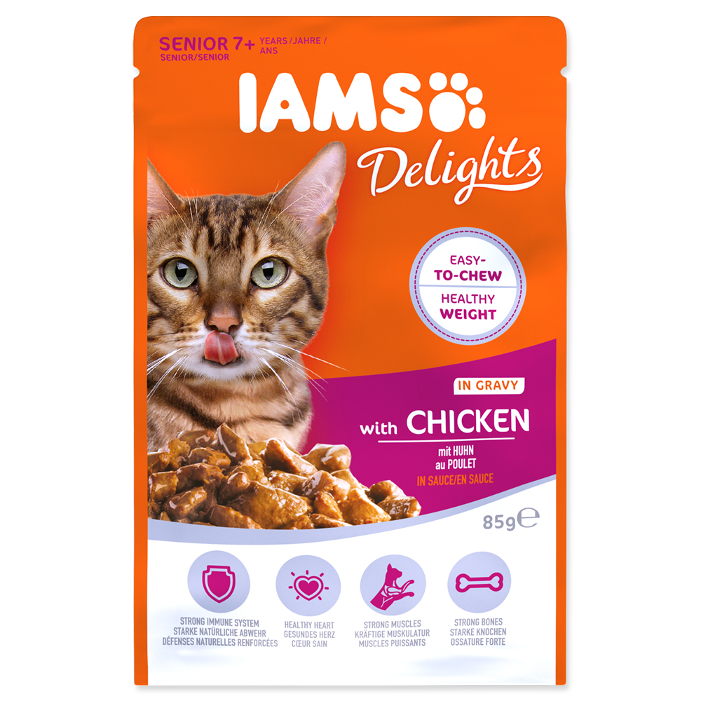 IAMS Cat Senior Delights Chicken in Gravy 85g